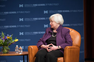 Janet Yellen responsable del Departamento del Tesoro de EEUU bajo la presidencia de Joe Biden.   FOTO: Universidad de Michigan