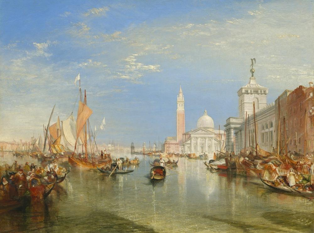 Punta della Dogana y San Giorgio Maggiore, en Venecia, pintados por Joseph Mallord William Turner en 1834.   Everett Collection