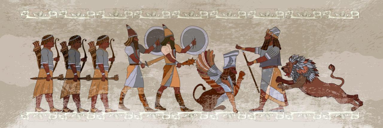 Representación del imperio sumerio, una de las culturas sucesivas que han prosperado en Mesopotamia, entre los ríos Tigris y Éufrates.
