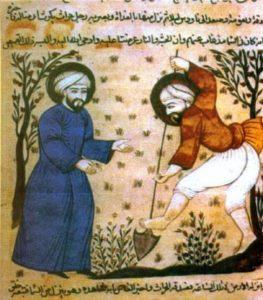 Cultivo de la tierra y empleo del riego, en una ilustración musulmana de época.