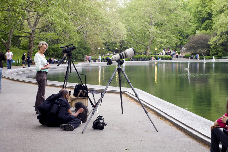 Aficionados a las aves en Central Park de Nueva York.   FOTO: Edd Toro