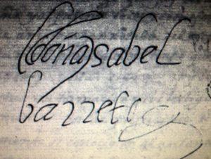Firma de Isabel Barreto en un documento histórico.