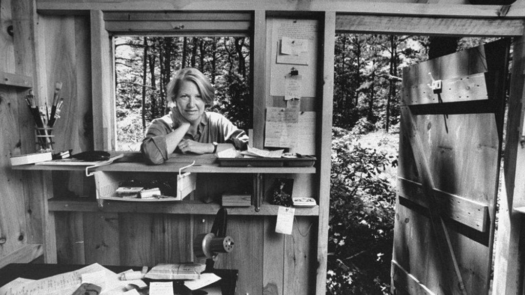 La escritora Annie Dillard en su cabaña.