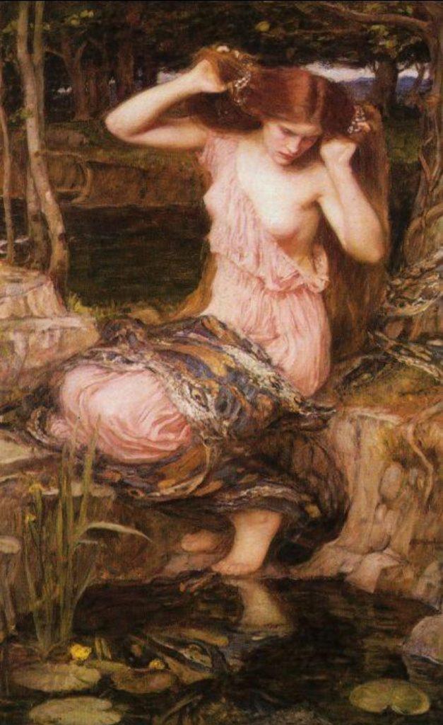 Lamía o sirena de río pintada por el autor John William Waterhouse.