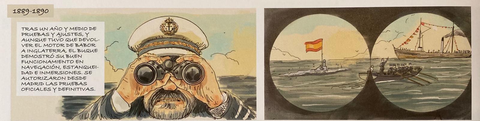 """Imagen interior del cómic sobre Isaac Peral titulado """"La conquista de un sueño"""""""