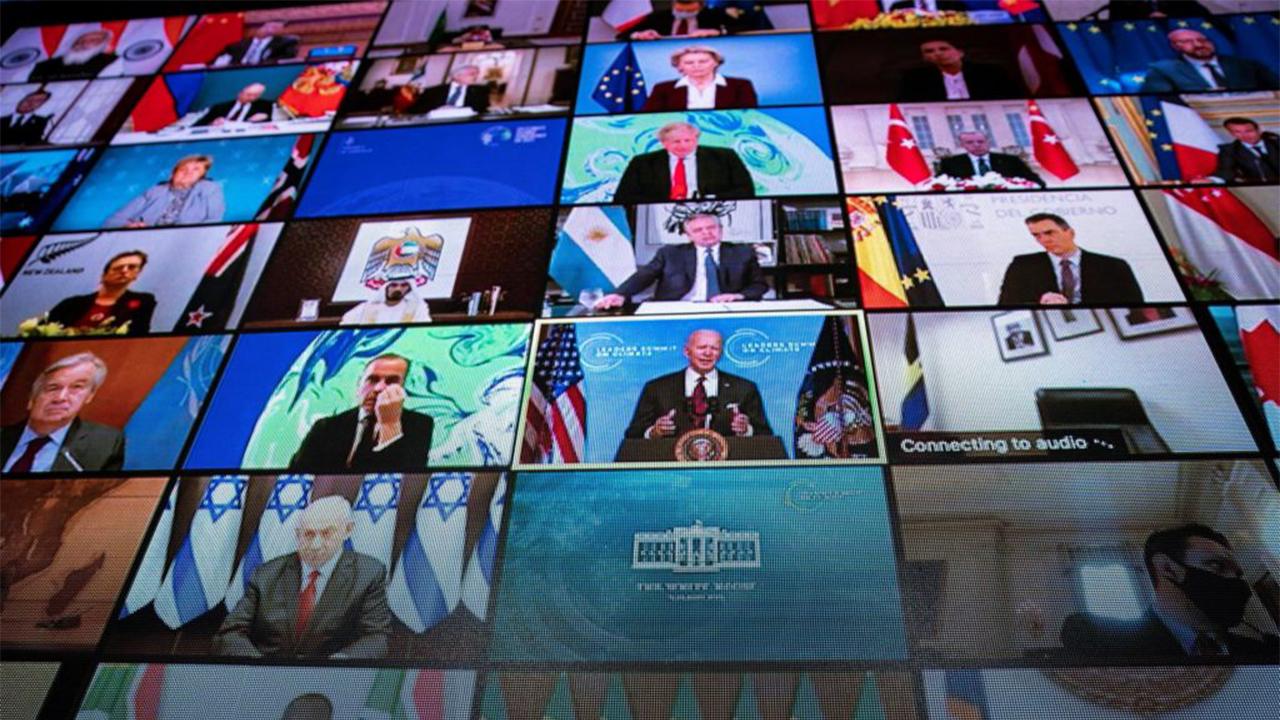 Líderes mundiales asistentes a la cumbre virtual convocada por Joe Biden. Foto. EFE/EPA/AL DRAGO / POOL