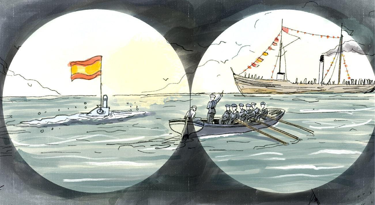 """Ilustración de Raúl Arias para el cómic """"Isaac Peral, la conquista de un sueño"""""""