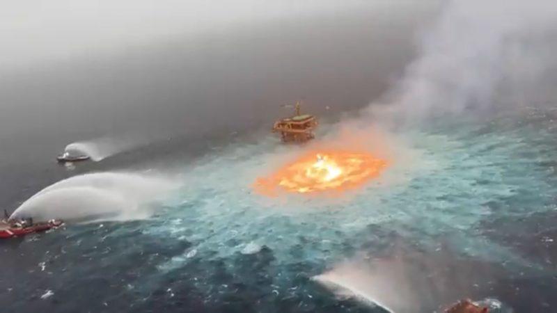 Arde el mar del Golfo de México tras una fuga en un gasoducto